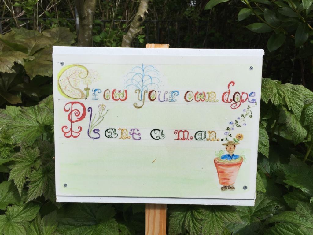 A funny garden sign