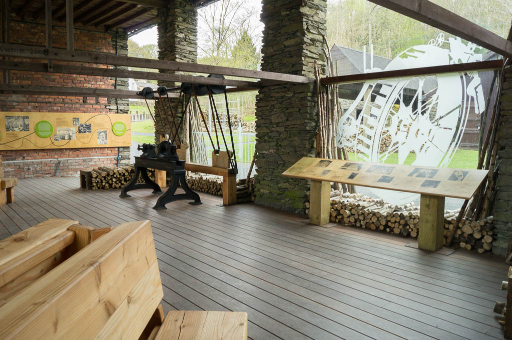 An undercover exhibition area in the coppicing barn