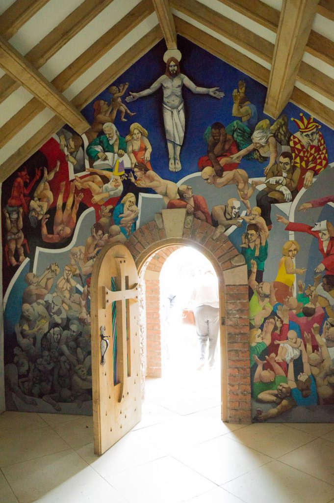The interior of the chapel at Larch Cottage Nurseries