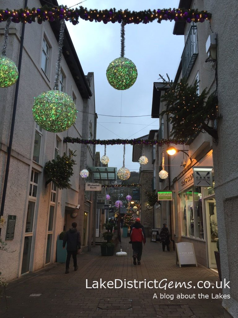 The Christmas lights in Wainwright's Yard, Kendal town centre