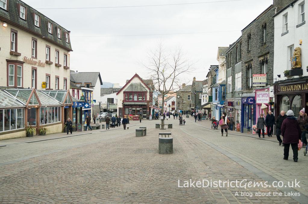 The pedestrian zone in the centre of Keswick