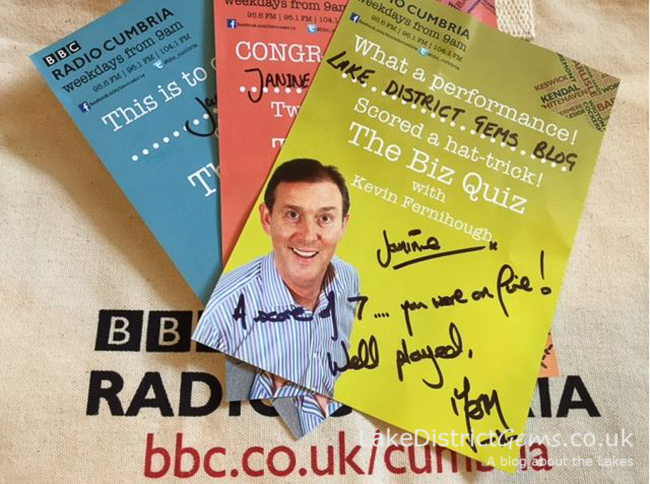 BBC Radio Cumbria Biz Quiz certificates