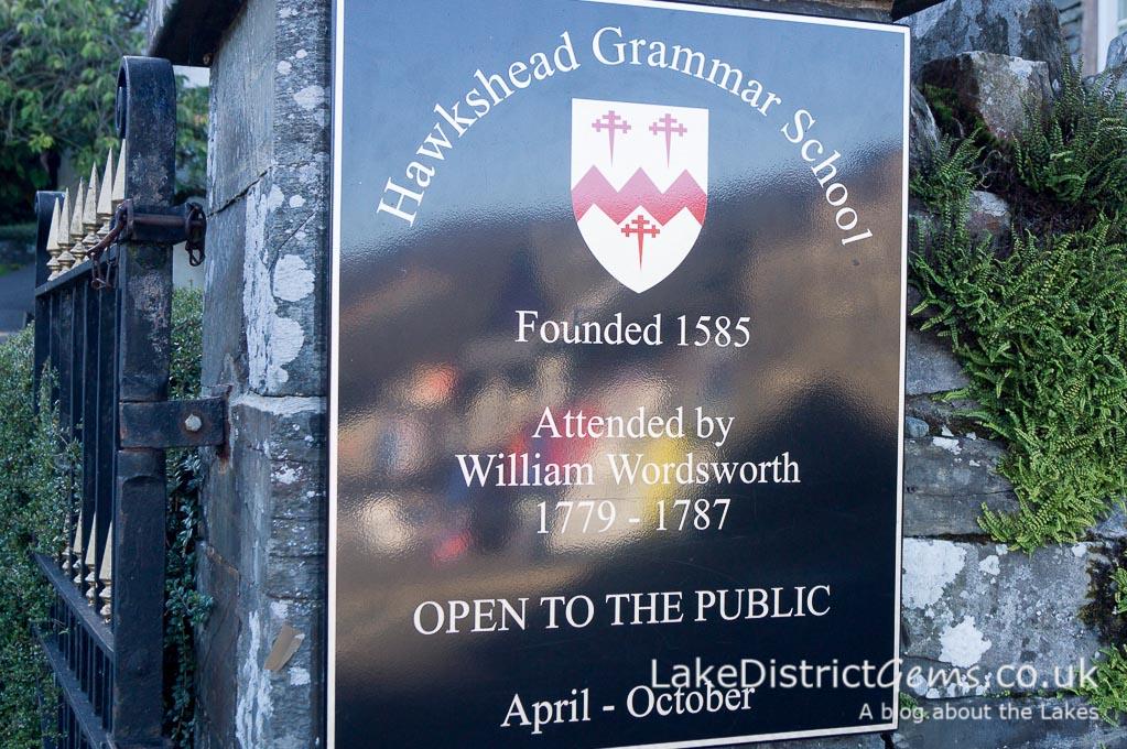 Sign for Hawkshead Grammar School