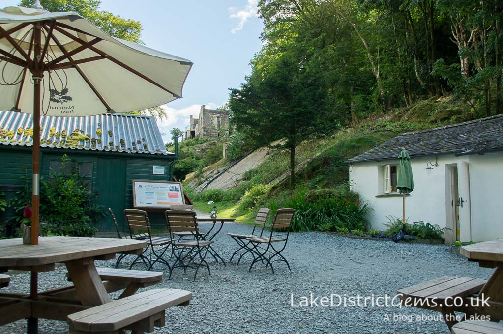 The café in the courtyard with Claife Viewing Station in the distance