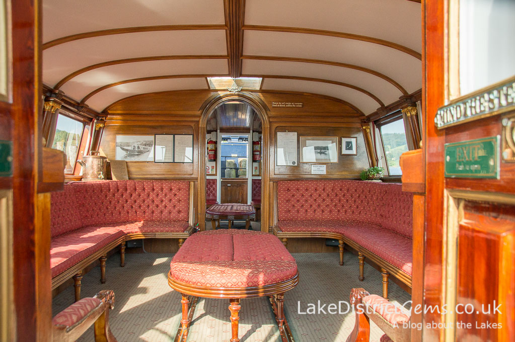 The interior of the National Trust's Steam Yacht Gondola, on Coniston Water
