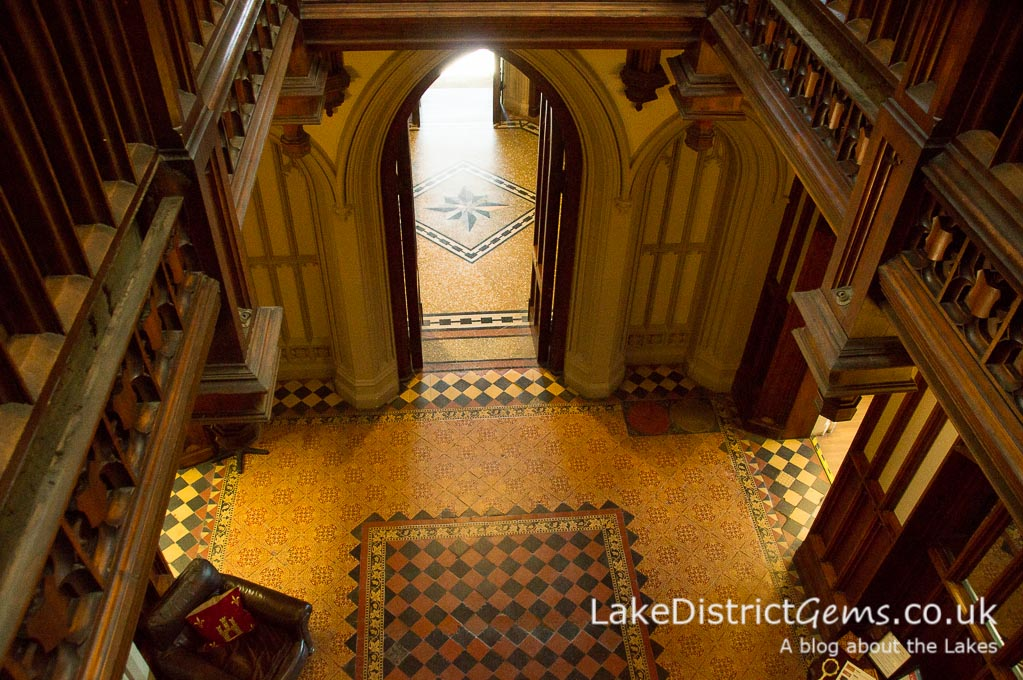 Looking down into the main hall at Wray Castle