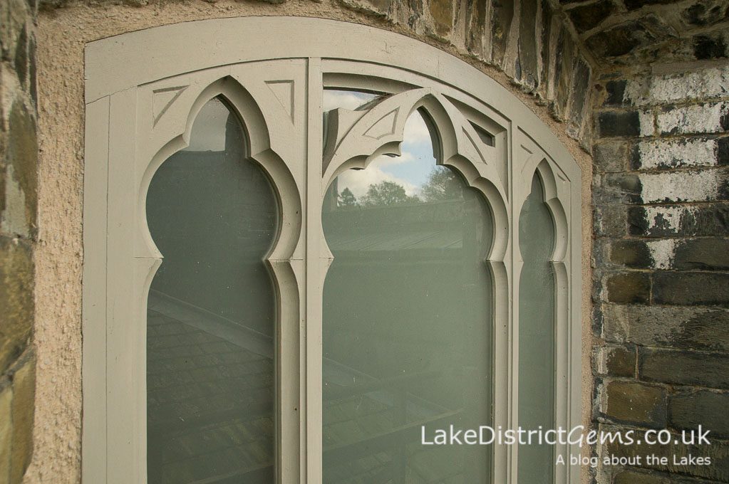 Window detail on a hard hat tour of Wray Castle