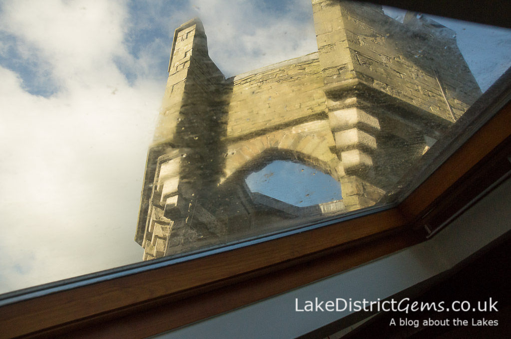 View from a rooflight on a hard hat tour of Wray Castle