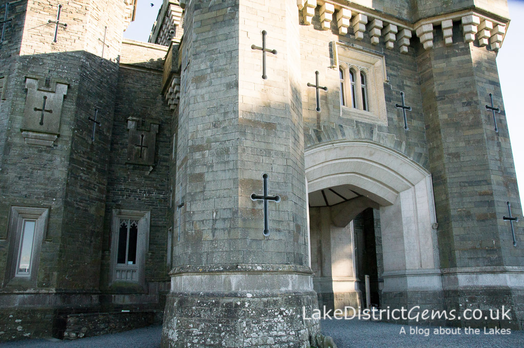 The turrets at the front of Wray Castle