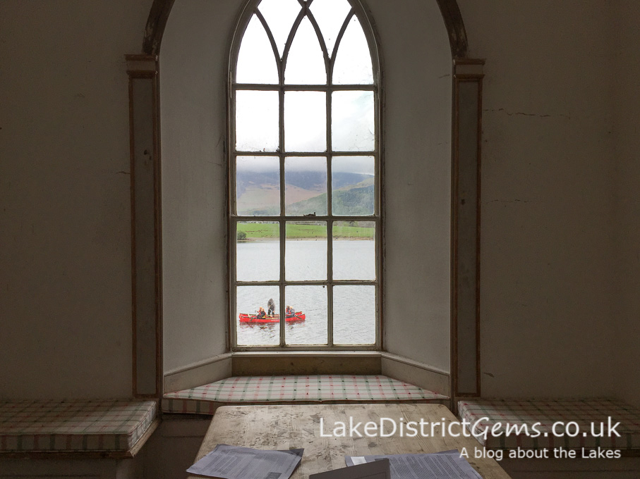 Inside the chapel looking out over Derwentwater