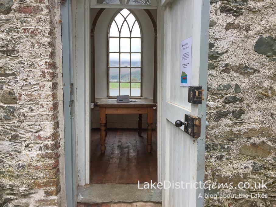 Looking inside the chapel