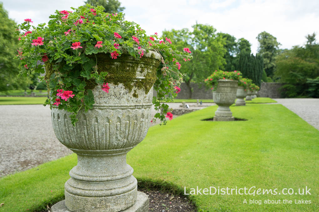 The pots at the front of Levens Hall