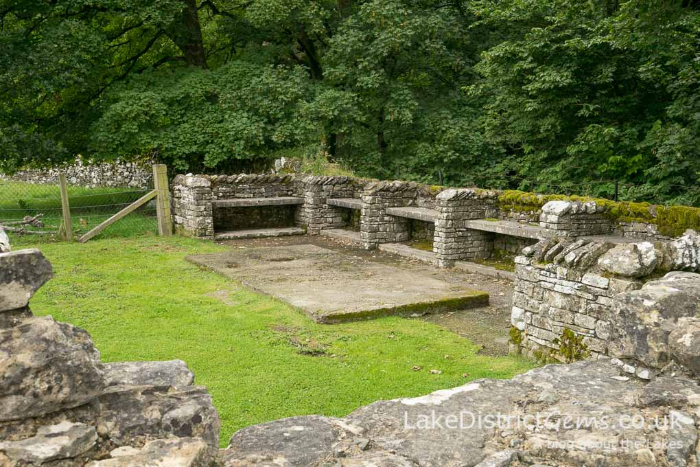 Stone seating at Shap Abbey