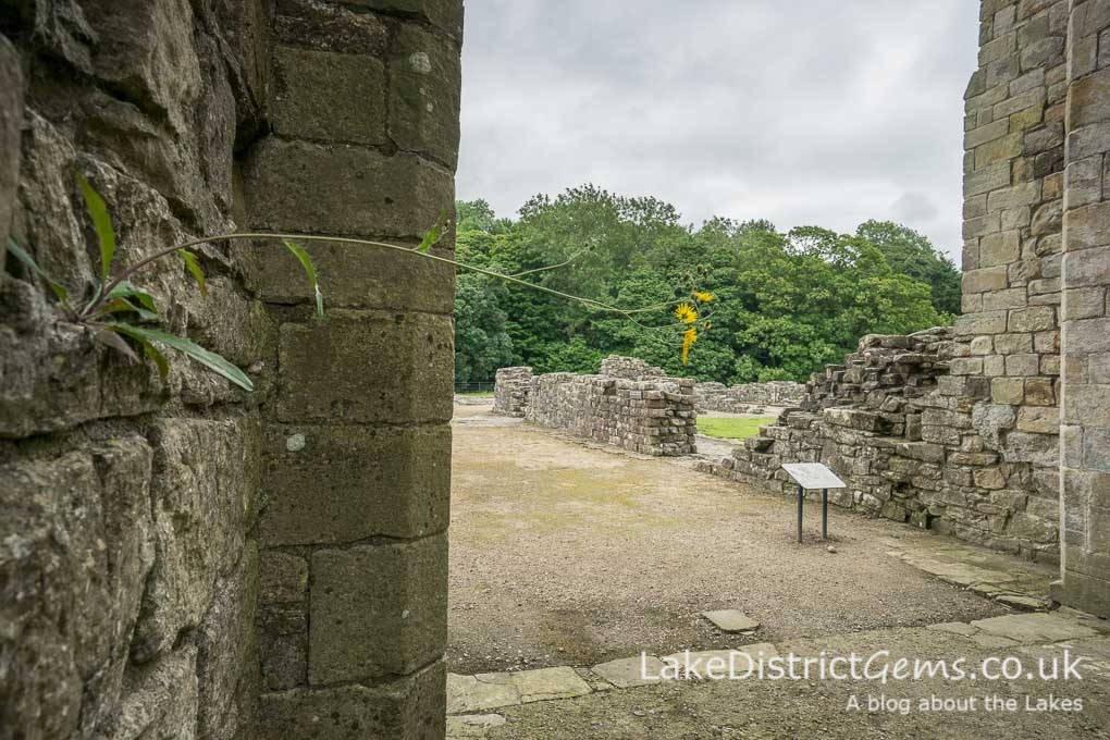 Looking out from inside the west tower at Shap Abbey