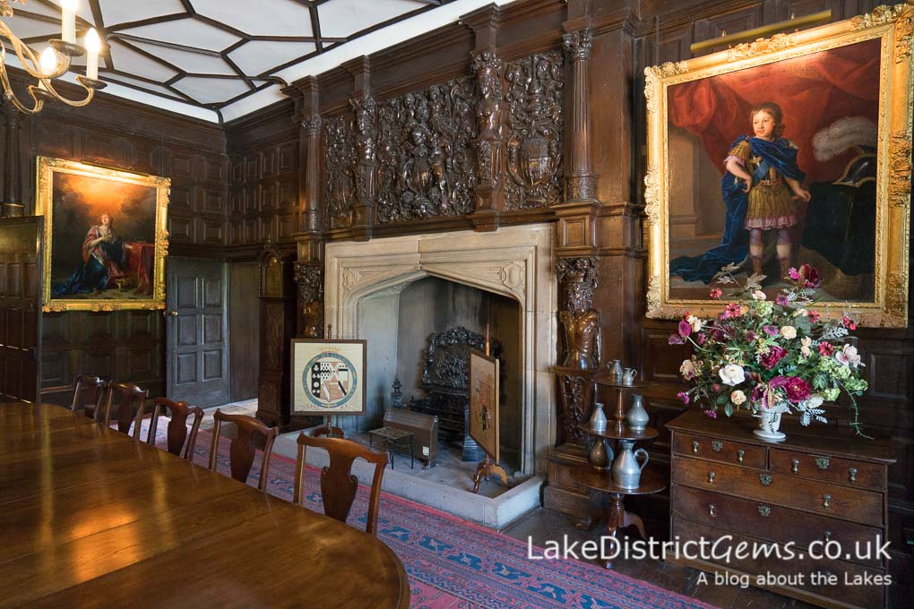 The Elizabethan oak panelling in the Dining Room at Sizergh Castle