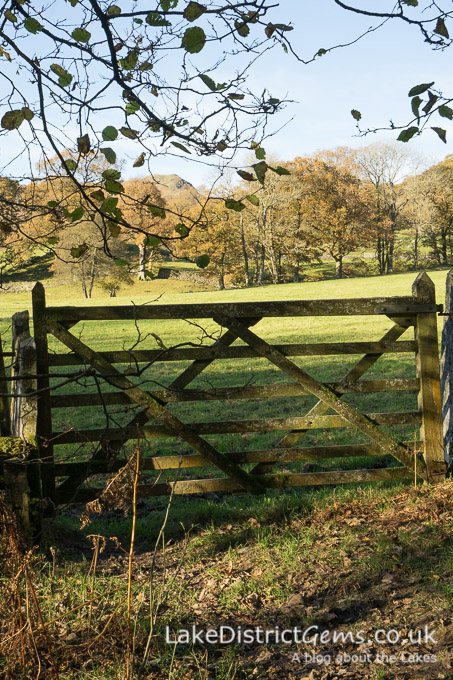 A gate on the walk to Skelwith Bridge from Elterwater