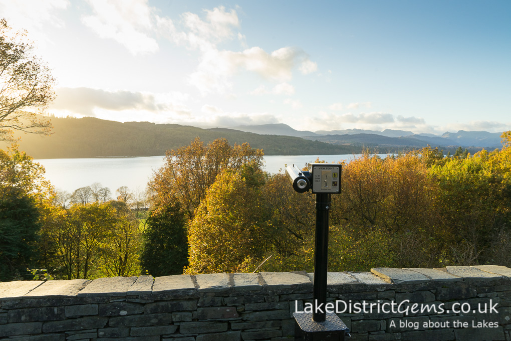 I'm standing at the Hammarbank viewpoint overlooking Windermere lake.