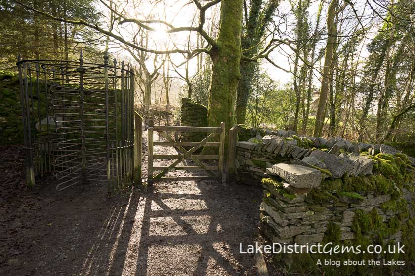 The Victorian turnstile at Stockghyll Force