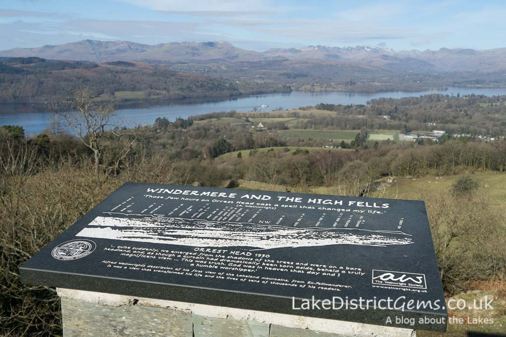 Plaque at Orrest Head, Windermere