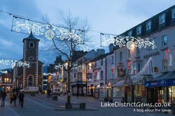 Keswick town centre with Christmas lights